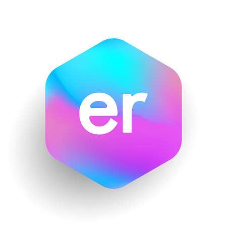 Letter ER logo in hexagon shape and colorful background, letter combination logo design for business and company identity.