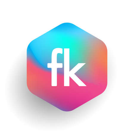 Letter FK logo in hexagon shape and colorful background, letter combination logo design for business and company identity. Logó