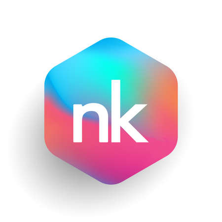 Letter NK logo in hexagon shape and colorful background, letter combination logo design for business and company identity.