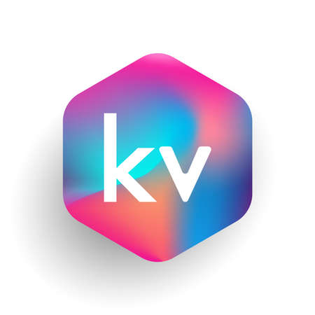 Letter KV logo in hexagon shape and colorful background, letter combination logo design for business and company identity.