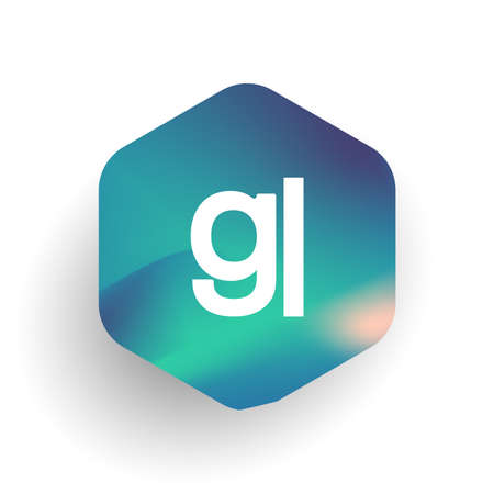 Letter GL logo in hexagon shape and colorful background, letter combination logo design for business and company identity. Ilustrace