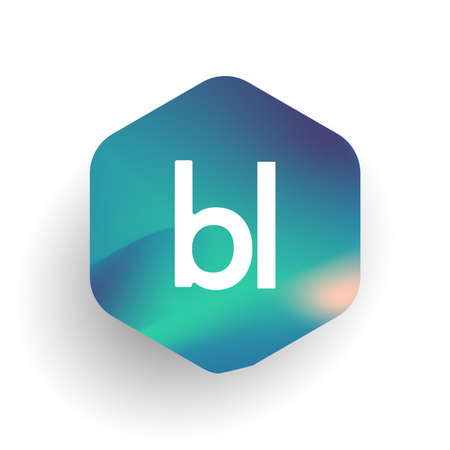 Letter BL logo in hexagon shape and colorful background, letter combination logo design for business and company identity.