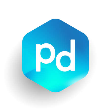Letter PD logo in hexagon shape and colorful background, letter combination logo design for business and company identity.