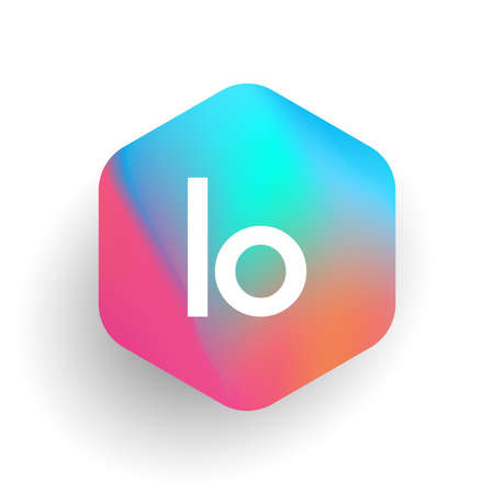 Letter LO logo in hexagon shape and colorful background, letter combination logo design for business and company identity. Ilustrace