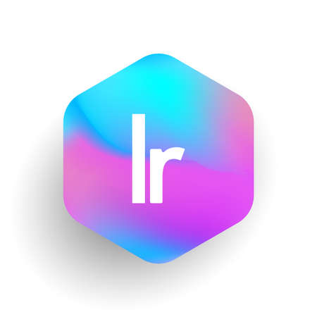Letter LR logo in hexagon shape and colorful background, letter combination logo design for business and company identity. Ilustrace
