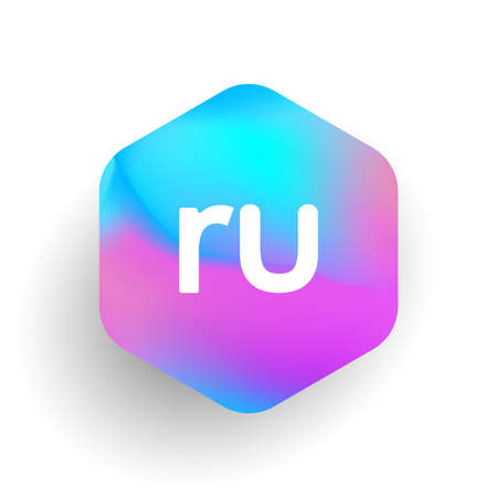 Letter RU logo in hexagon shape and colorful background, letter combination logo design for business and company identity.