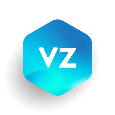 Letter VZ logo in hexagon shape and colorful background, letter combination logo design for business and company identity. Logó