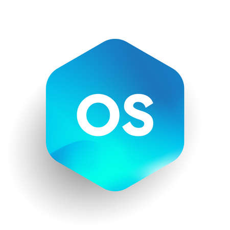Letter OS logo in hexagon shape and colorful background, letter combination logo design for business and company identity.