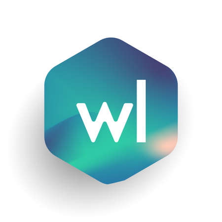 Letter WL logo in hexagon shape and colorful background, letter combination logo design for business and company identity.