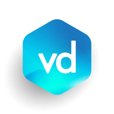 Letter VD logo in hexagon shape and colorful background, letter combination logo design for business and company identity. Logó