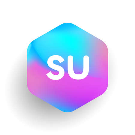 Letter SU logo in hexagon shape and colorful background, letter combination logo design for business and company identity.