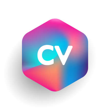 Letter CV logo in hexagon shape and colorful background, letter combination logo design for business and company identity.