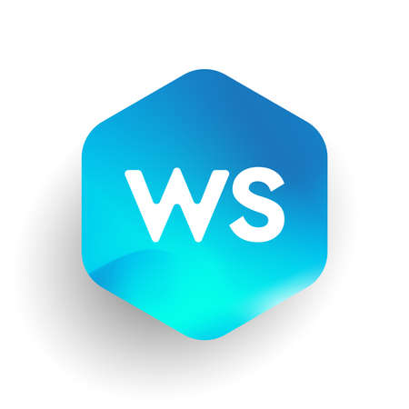 Letter WS logo in hexagon shape and colorful background, letter combination logo design for business and company identity.