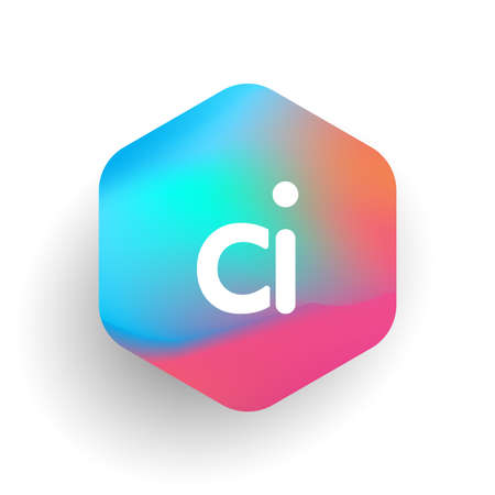 Letter CI logo in hexagon shape and colorful background, letter combination logo design for business and company identity.