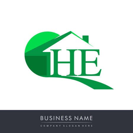 initial logo HE with house icon, business logo and property developer.
