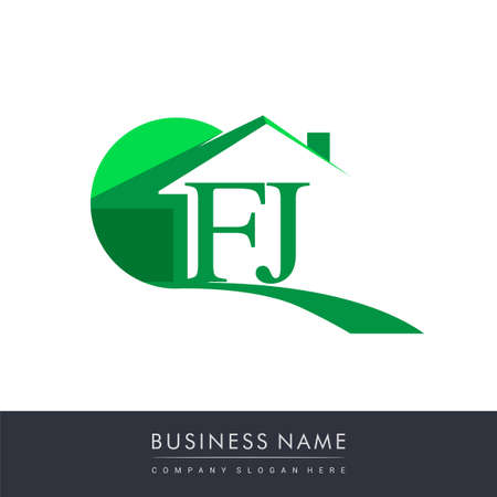 initial logo FJ with house icon, business logo and property developer.