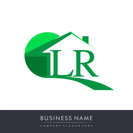 initial logo LR with house icon, business logo and property developer.