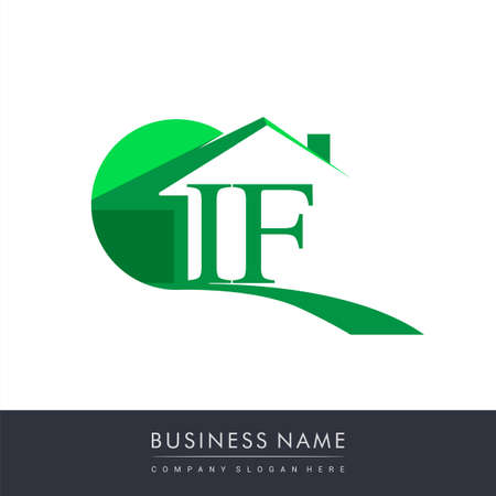 initial logo IF with house icon, business logo and property developer.