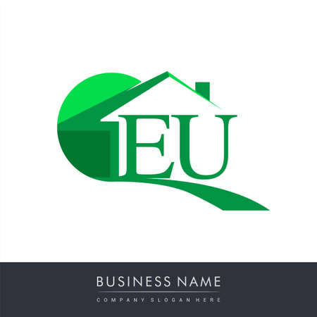 initial logo EU with house icon, business logo and property developer.