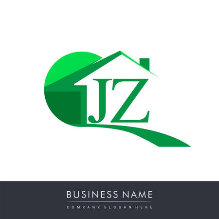 initial logo JZ with house icon, business logo and property developer. Logo