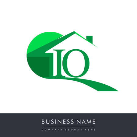 initial logo IO with house icon, business logo and property developer.