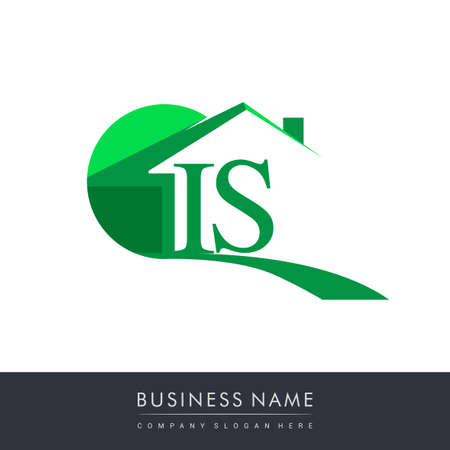 initial logo IS with house icon, business logo and property developer.