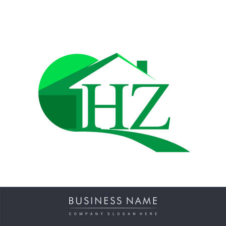 initial logo HZ with house icon, business logo and property developer.