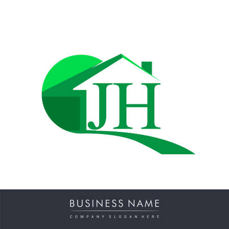 initial logo JH with house icon, business logo and property developer.