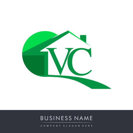 initial logo VC with house icon, business logo and property developer.