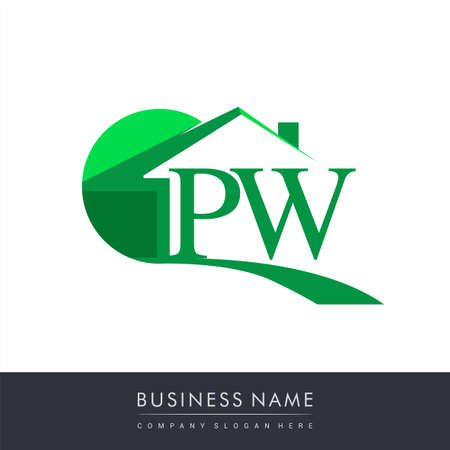 initial logo PW with house icon, business logo and property developer.