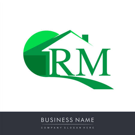 initial logo RM with house icon, business logo and property developer.