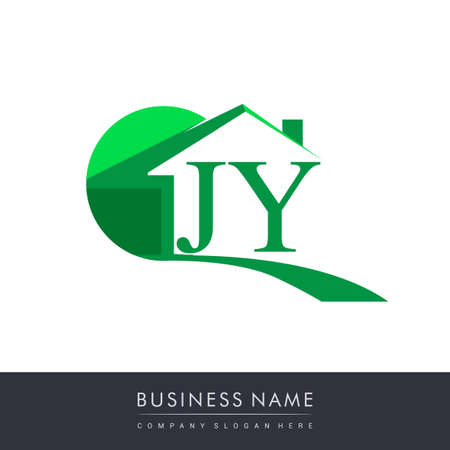 initial logo JY with house icon, business logo and property developer.