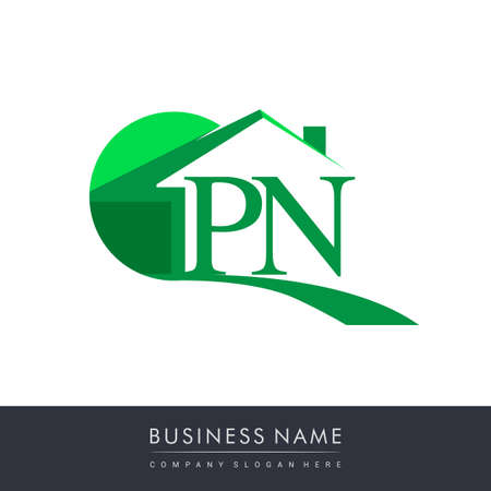 initial logo PN with house icon, business logo and property developer.