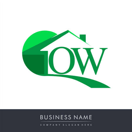 initial logo OW with house icon, business logo and property developer. Logo