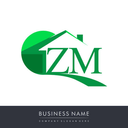 initial logo ZM with house icon, business logo and property developer.