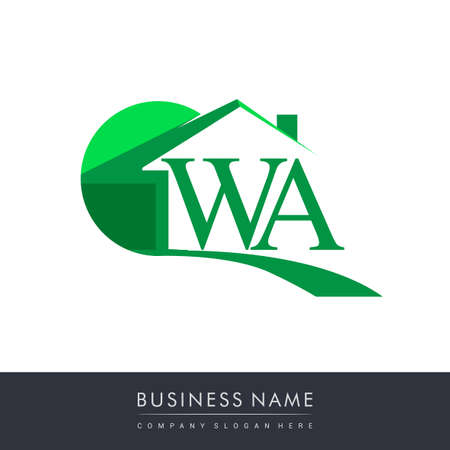 initial logo WA with house icon, business logo and property developer.