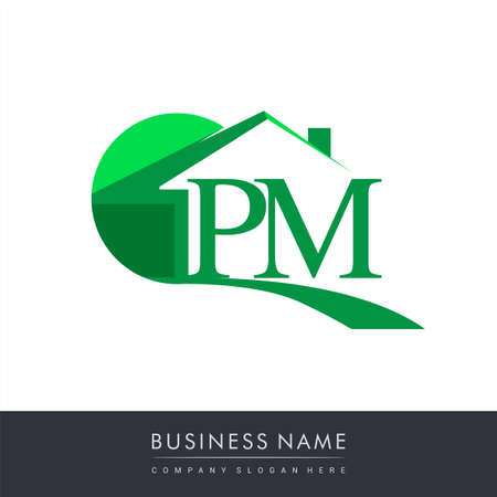initial logo PM with house icon, business logo and property developer.