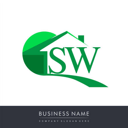initial logo SW with house icon, business logo and property developer. Logo