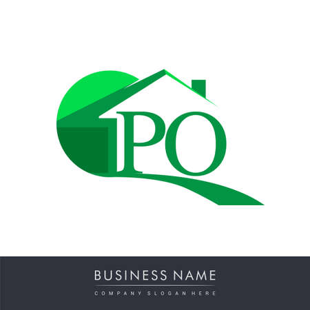 initial logo PO with house icon, business logo and property developer. Logo