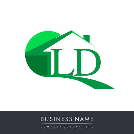 initial logo LD with house icon, business logo and property developer.