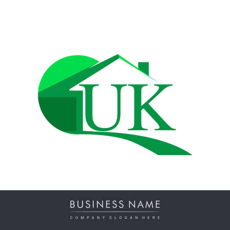 initial logo UK with house icon, business logo and property developer.