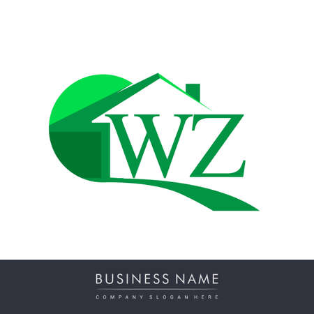 initial logo WZ with house icon, business logo and property developer.