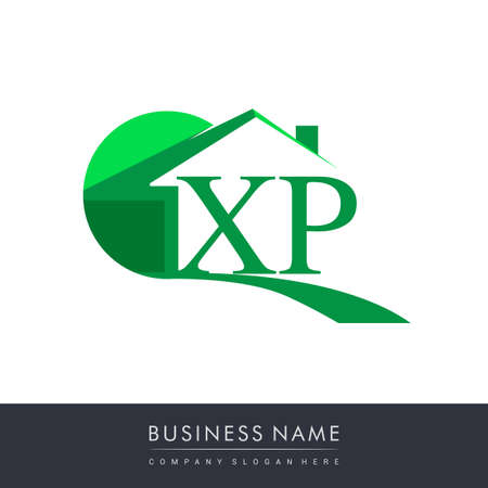 initial logo XP with house icon, business logo and property developer.