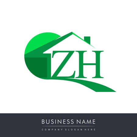 initial logo ZH with house icon, business logo and property developer.