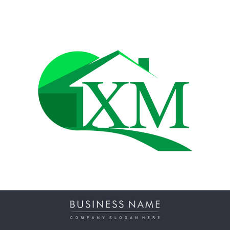 initial logo XM with house icon, business logo and property developer.