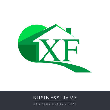 initial logo XF with house icon, business logo and property developer.