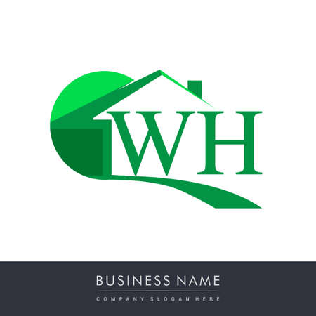 initial logo WH with house icon, business logo and property developer.
