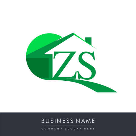 initial logo ZS with house icon, business logo and property developer.