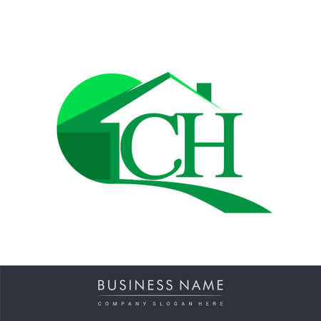 initial logo CH with house icon, business logo and property developer. Logo