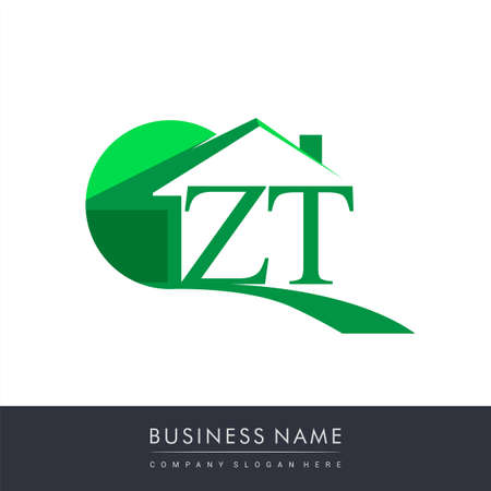initial logo ZT with house icon, business logo and property developer. Logo